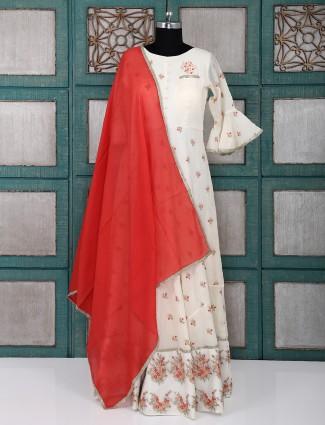 Cream color silk anarkali salwar suit