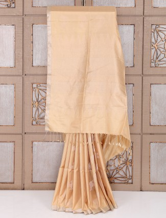 Cream color silk plain saree
