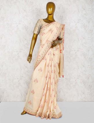 Cream color silk wedding wear saree