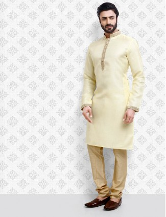 Cream color solid cotton kurta suit