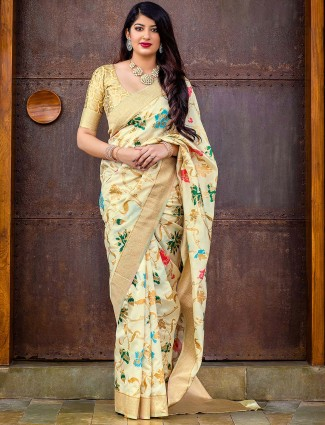 Cream color wedding wear banarasi silk saree