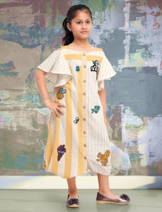 Cream colored stripe pattern cotton dress