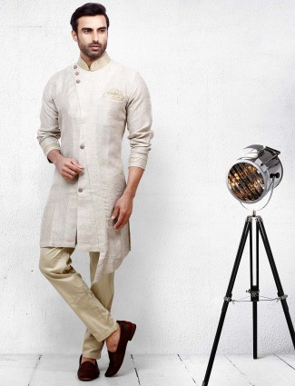 Cream cotton fabric solid kurta suit