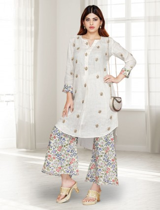 Cream cotton festive wear punjabi palazzo suit
