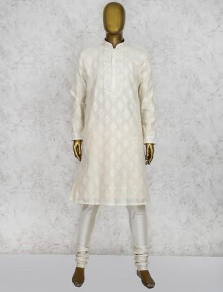 Cream cotton full sleeves kurta suit