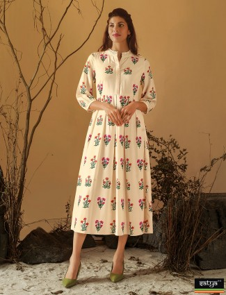 Cream cotton printed kurti for casual wear
