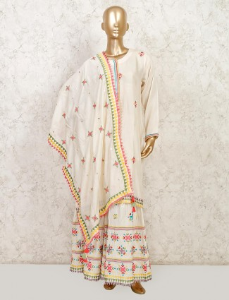 Cream cotton sharara suit for festive