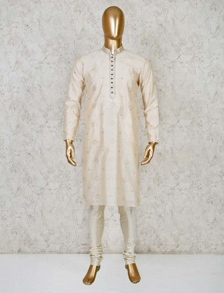 Cream cotton silk festive occasion kurta suit
