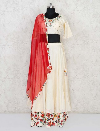 Cream cotton silk festive wear lehenga choli