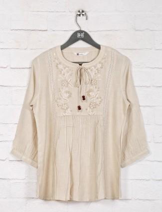 Cream cotton thread work casual top