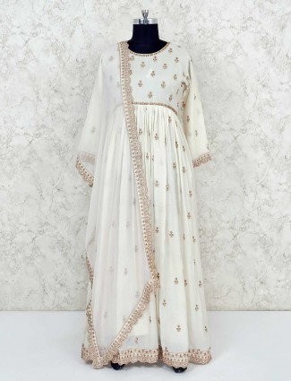 Cream cotton wedding anarkali suit