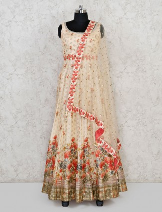 Cream designer cotton silk floor length anarkali suit