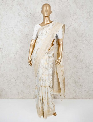 Cream dola silk wedding saree