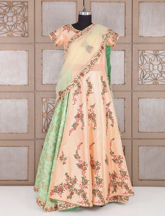 Cream green designer silk gown