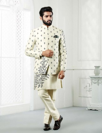 Cream hue double layer style indo western