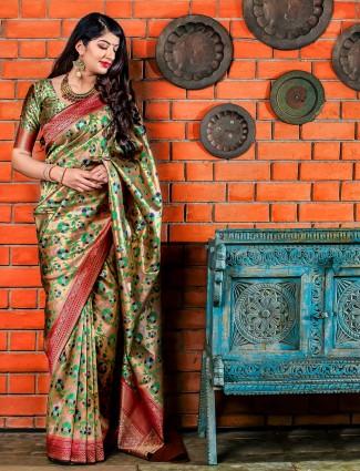 Cream hue lovely wedding saree in banarasi silk