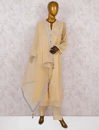 Cream hue palazzo suit in georgette