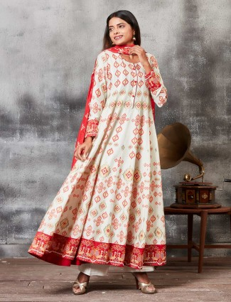 Cream hue raw silk printed punjabi salwar suit
