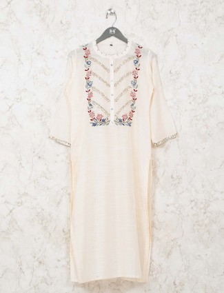Cream kurti in cotton