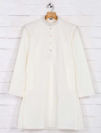 Cream lakhnavi work cotton kurta pajama