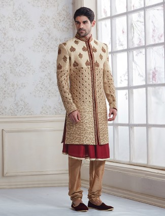 Cream maroon wedding wear sherwani in silk fabric