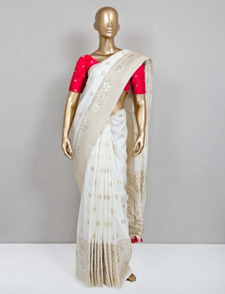 Cream party wear saree for women