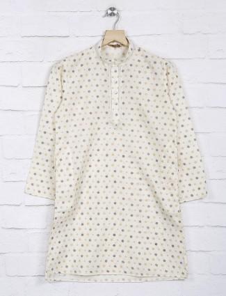 Cream printed chinese neck cotton kurta suit