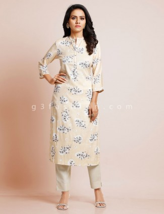 Cream printed cotton kurti for casual look