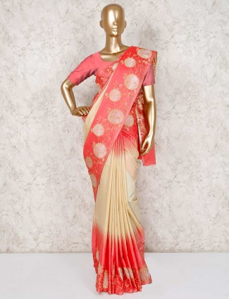 Cream semi silk pretty saree