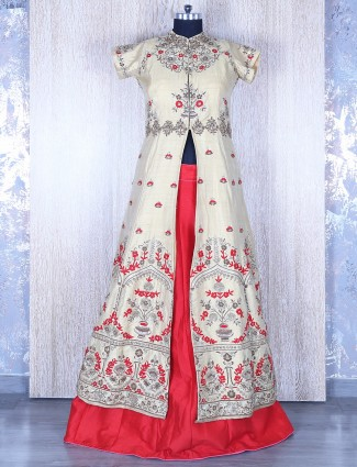 Cream silk long length lehenga choli