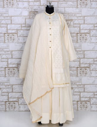 Cream silk salwar suit for festive function