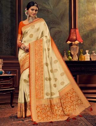 Cream silk saree with zari weaved for wedding