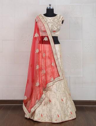 Cream silk semi stitched lehenga choli