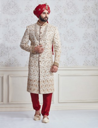Cream silk wedding wear sherwani