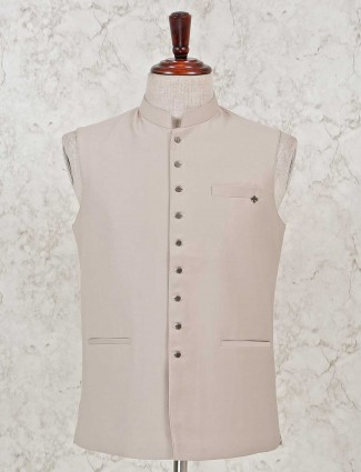 Cream solid stand collar waistcoat