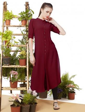 Crepe fabric casual wear maroon color kurti