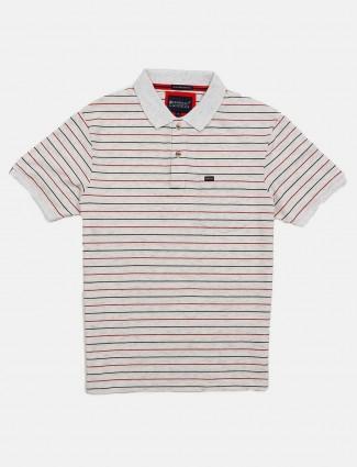 Crossknit cream stripe cotton t-shirt