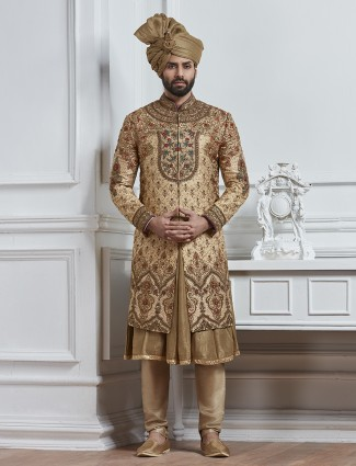 Dark beige silk wedding wear sherwani