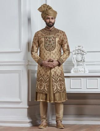 Dark beige silk wedding wear sherwani