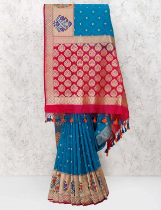 Dark blue banarasi semi silk saree