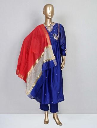 Dark blue cotton silk salwar suit for festival