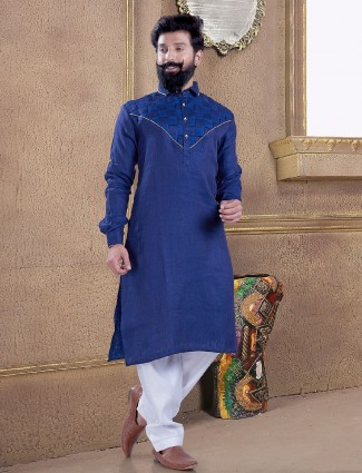 Dark blue pathani suit