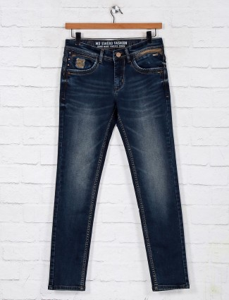 Dark blue washed denim jeans for mens