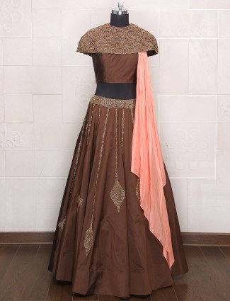 Dark brown hue party wear silk lehenga choli
