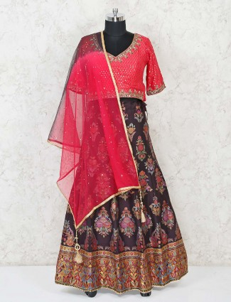 Dark brown kashmiri banarasi lehenga with rani pink choli