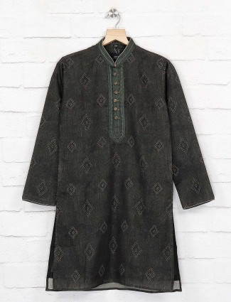 Dark green cotton fabric festive kurta suit