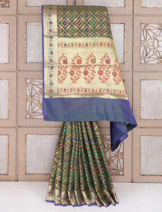 Dark green semi silk saree