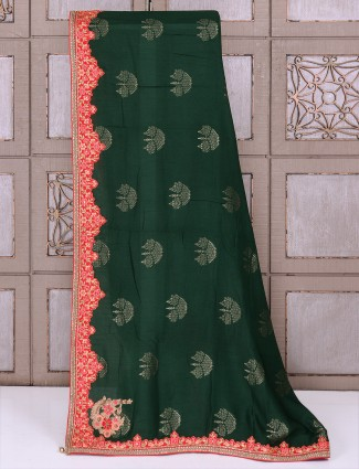Dark green silk fabric saree