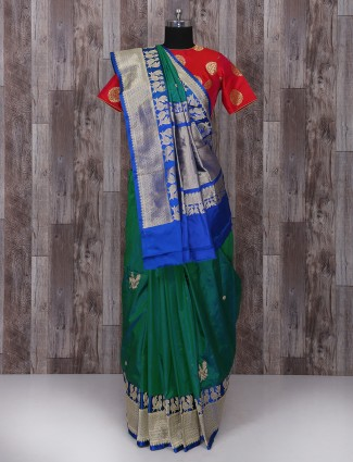 Dark green silk saree for weddingwear