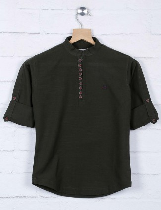 Dark green solid chinese neck shirt